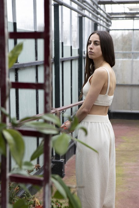 Monica Cordera Ribbed Knit Top - Natural