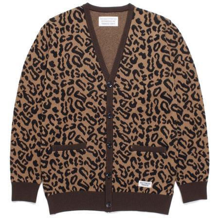 Wacko Maria Leopard Jacquard Cardigan - Brown
