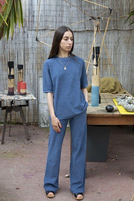 Sunspel Towelling T-Shirt - Smoke Blue