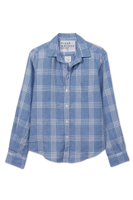 Frank & Eileen Barry Linen Shirt - Slate Blue Plaid