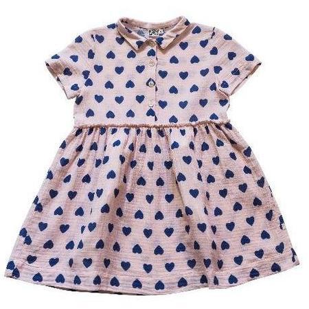 kids bonton hearts woven dress - pale pink