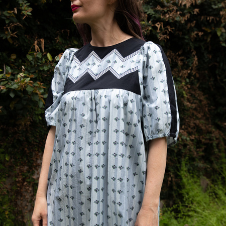 Batsheva Zig Zag Dress - White/Black