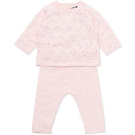 kids bonton knit baby set - pink hearts