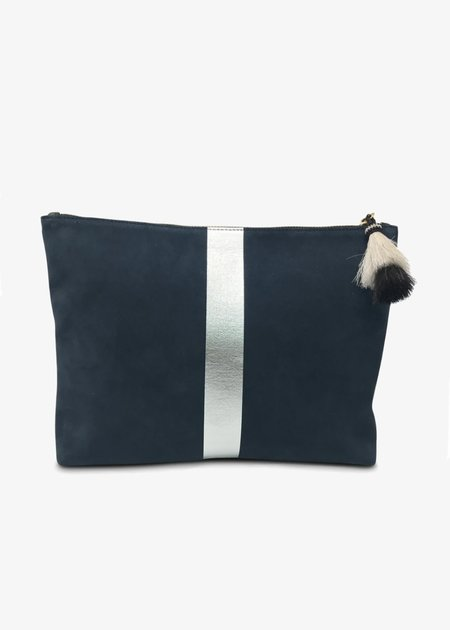 Kempton & Co. Leather & Suede Pouch - Navy