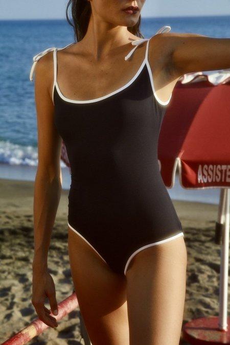 Laura Urbinati Charlotte Tie Shoulder 1 Piece - Black/White