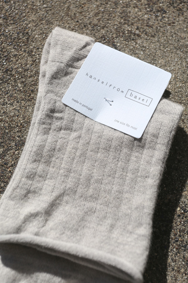 Hansel From Basel Superfine Cashmere Roll Top Short Crew Sock in Heather Grey