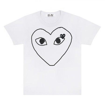Comme des Garçons Black Heart Outline Tee - white