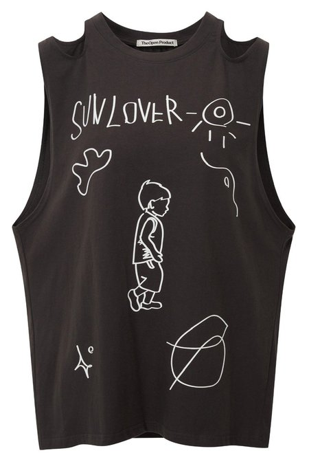 Theopen Product Shoulder Cut-out Boy Top - Dark Gray