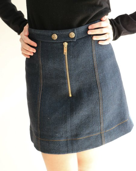 [Pre-loved] Sonia Rykiel Denim-Inspired Mini Skirt - Navy