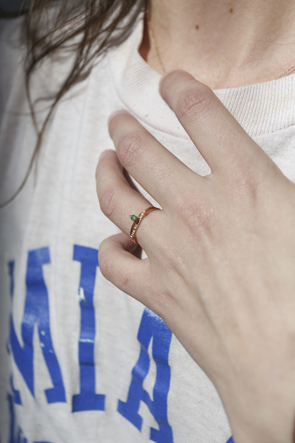 Blanca Monrós Gómez Tiny Emerald Solitaire Ring
