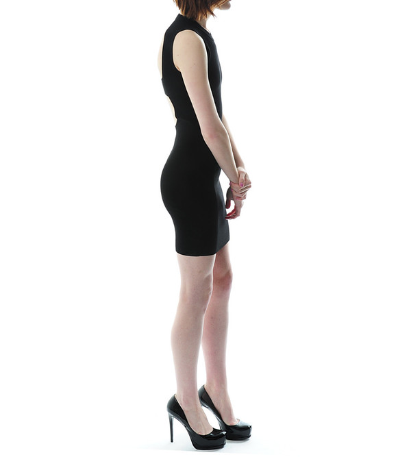 T By Alexander Wang Matt Viscose Nylon Knit Open Back Dress