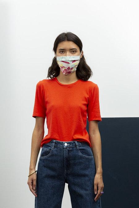 Carleen Ribbed Siren Tee Shirt - Persimmon