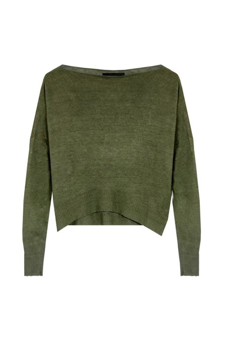 KES Asymmetric Linen Boat Neck Sweater - Military