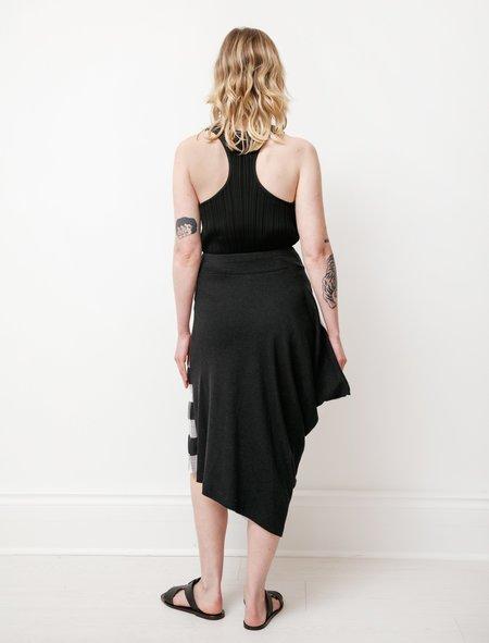 Y's by Yohji Yamamoto Asymmetric Gingham Skirt - Black/White