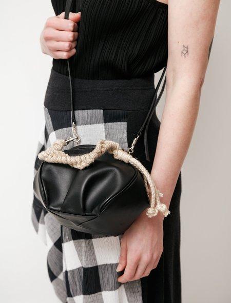 Y's by Yohji Yamamoto Jute Handled Dumpling Clasp Bag - Black