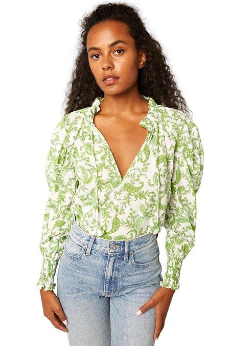 Misa Los Angeles Siena Top - Green/White Paisley