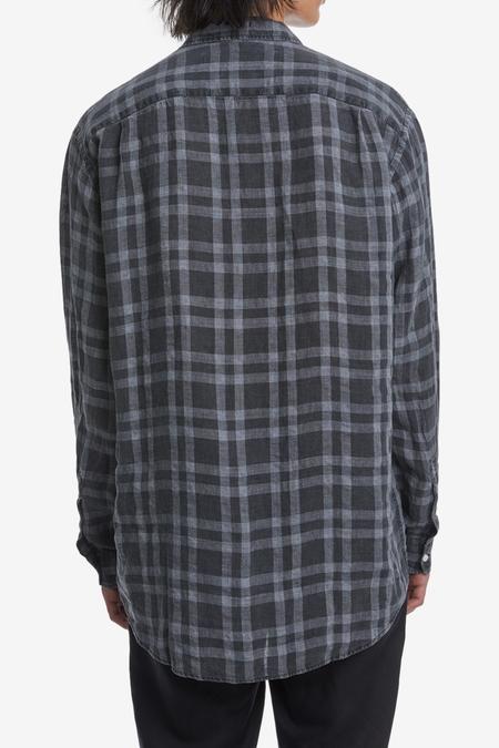 Unisex Schnayderman's Non-Binary Linen Check Shirt - Bleached Black