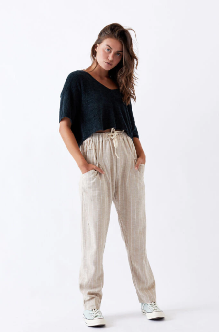Little Lies Clothing Striped Joie Pants - Natural
