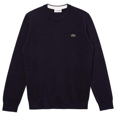 Lacoste Crew Neck Cotton Sweater - Blue Marine