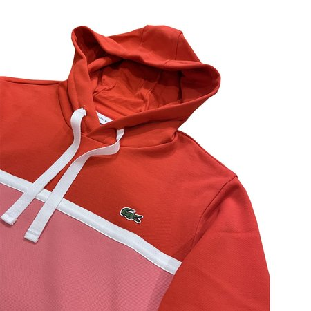Lacoste Piqué Panel Bimaterial Hooded Sweatshirt - Rouge