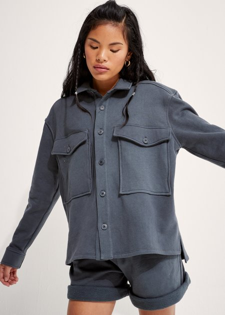 unisex Back Beat Co Recycled Cotton Fleece Jacket - Cement