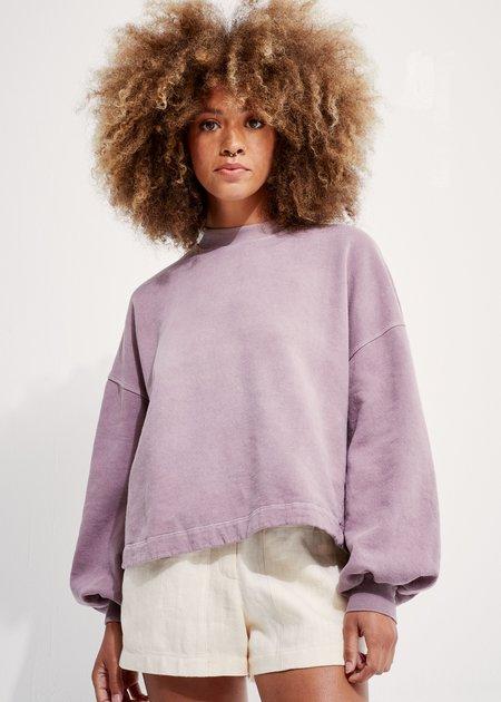 Back Beat Co Recycled Cotton Puff Sleeve Sweatshirt - Mushroom