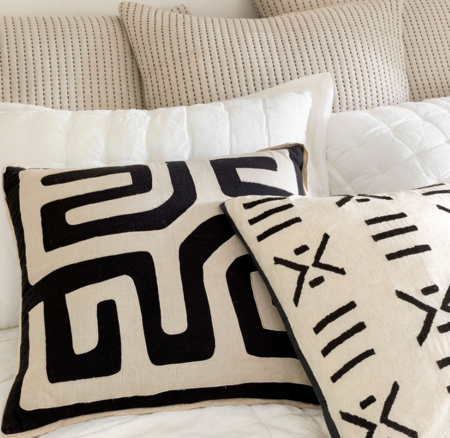 Dash and Albert Kitale Embroidered Pillow - Black on Ivory