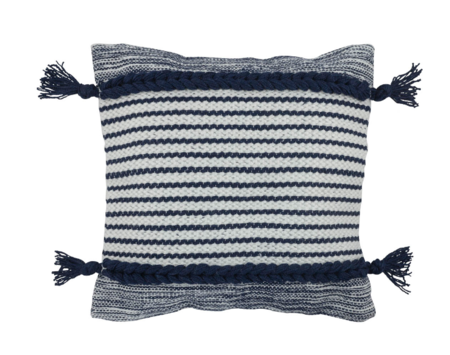 Divine Home Lucas Woven Outdoor Pillow - navy
