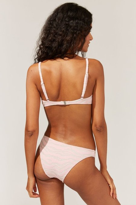 Solid and Striped Eva Bikini Bottom - Metallic Zebra Cloud Pink