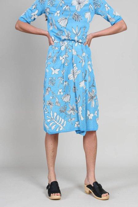 Christian Wijnants Kiden Jacquard Knit Skirt - Blue Glossy Botanics