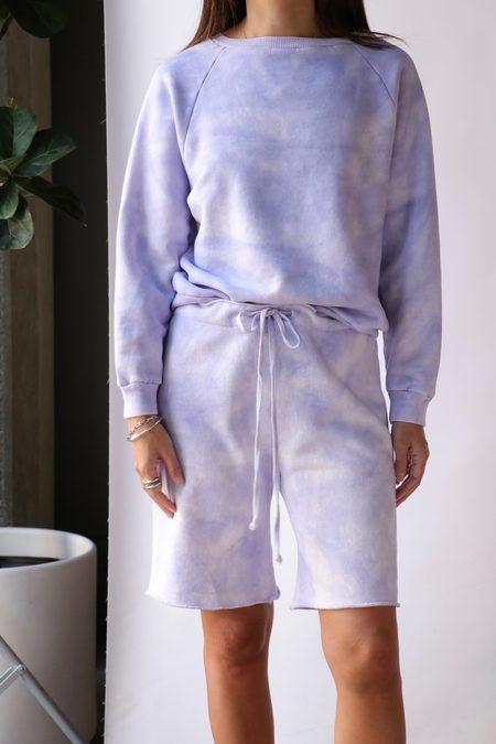 Nili Lotan Classic Crew Neck Sweatshirt - Light Lavender Tie Dye