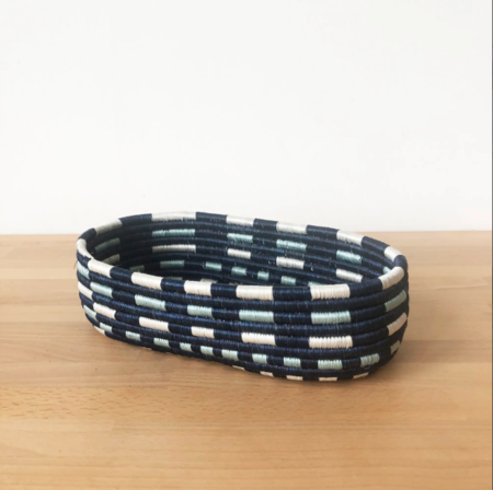 Amsha Nshili Bread Basket - Blue/White