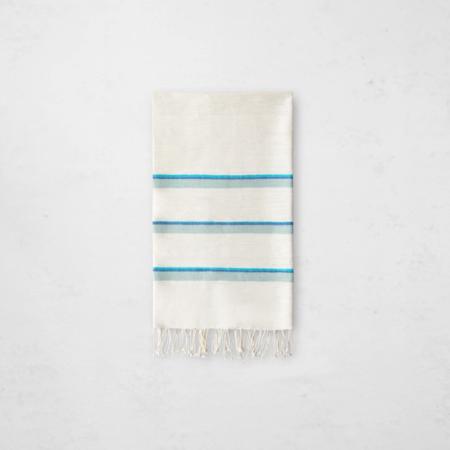 Bole Road Textiles Omo Hand Towel - Natural/Azure
