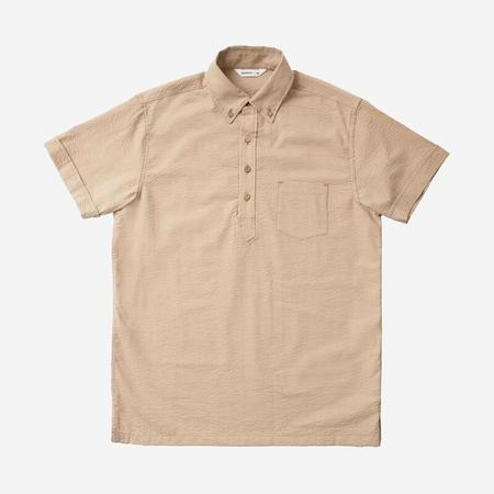 3Sixteen Popover Short-Sleeve Shirt - Sand Seersucker