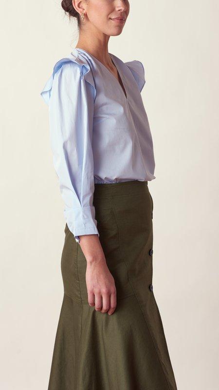 Derek Lam Oona Ruffle Blouse - Pale Blue