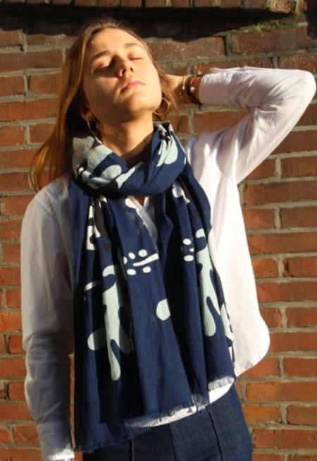 Les Belles Vagabondes Folk Cotton Scarf - Blue