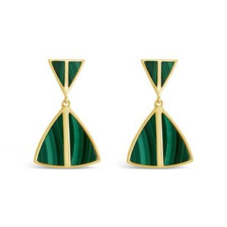 Sierra Winter Jewelry Jolene Earrings - Gold Vermeil/Malachite
