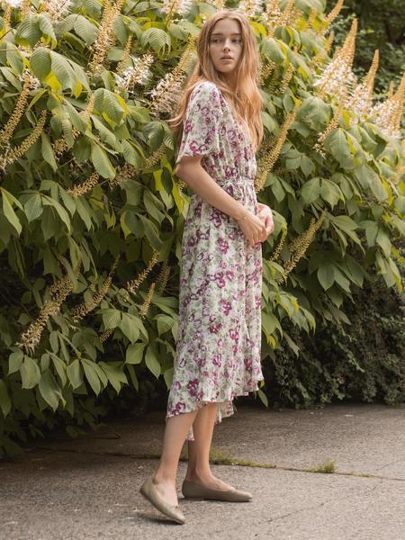 BLNC Floral Ruffle Dress - Green