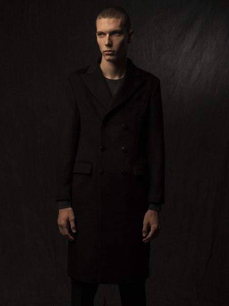 PURECASHMERE NYC Men Tailored Double Breasted Coat - Black