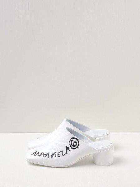 Mm6 Maison Margiela Print Mules - White/Black