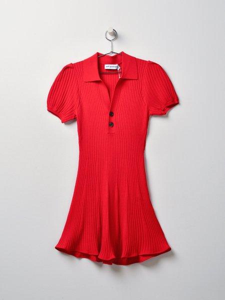 Self Portrait Rib Knit Mini Dress - Red