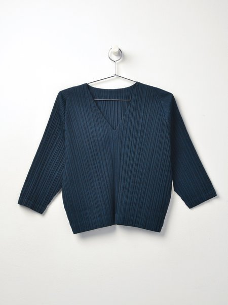 Pleats Please by Issey Miyake V NECK PLEATED BLOUSE -  MIDNIGHT GREEN