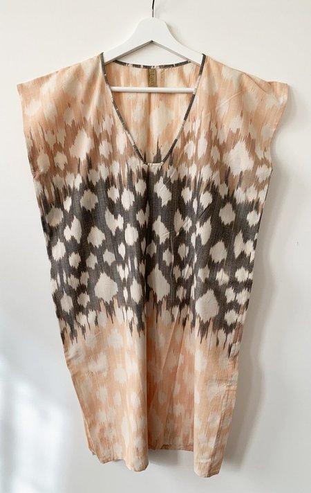 Two ikat tunic dress - Caramel/White