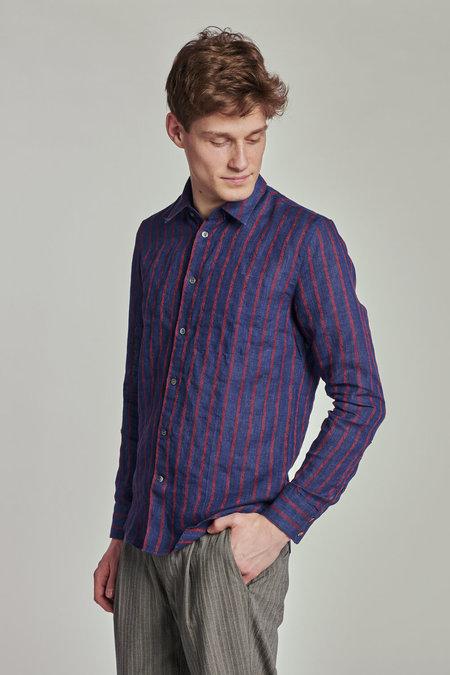 Delikatessen Feel Good Linen Shirt - Indigo Blue/Red Jacquard Stripe