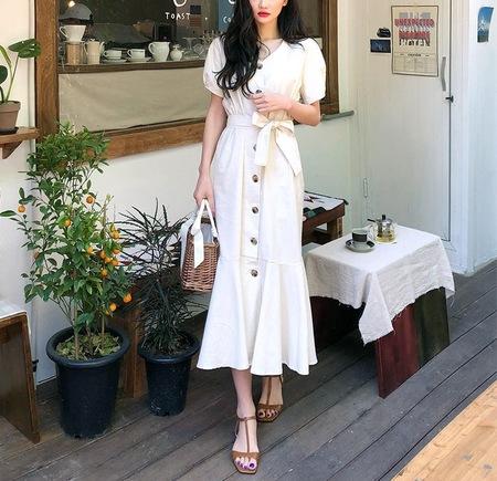 OPUSION Short Sleeve Button-up Ruffle Hem Maxi Dress with Fabric Belt