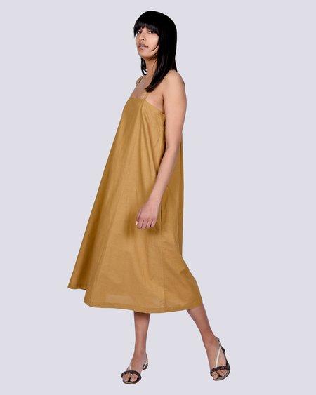 Micaela Greg straight pleated dress - Golden