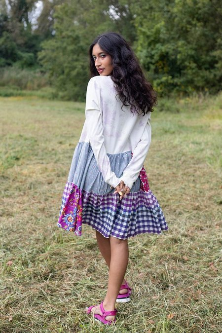 Abacaxi Patchwork Tee Dress - gingham