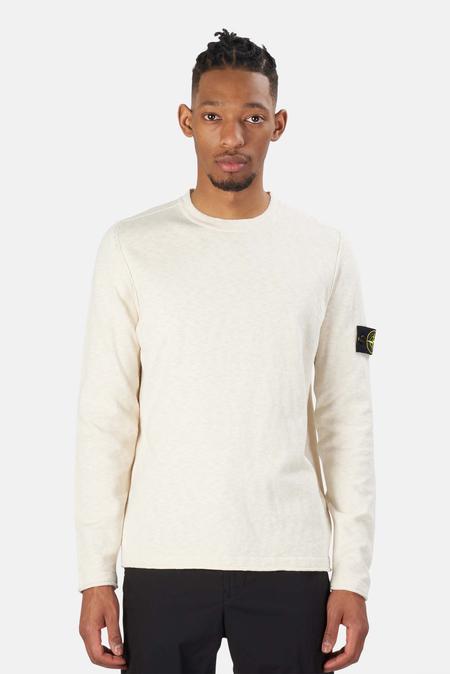 Stone Island Cotton Nylon Melange Crewneck Sweater - Ivory