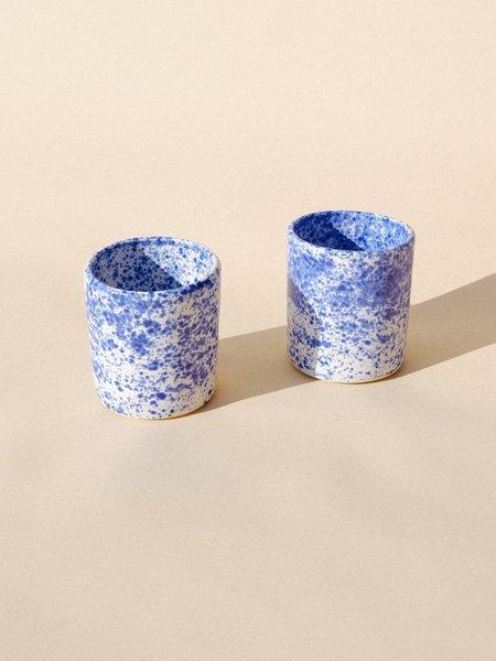 Salamat Ceramics Set of Two Tephra Tumblers - Blue Splatter