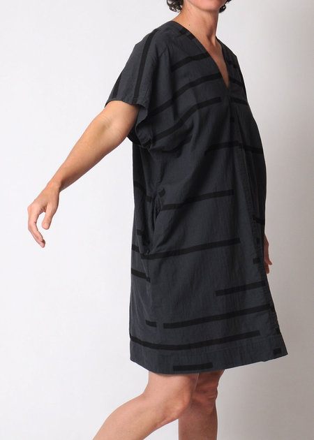 Uzi NYC V-Dress - Broken Stripe